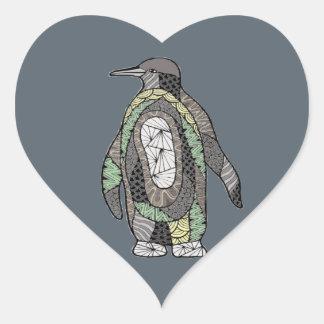 Pinguin Herz-Aufkleber
