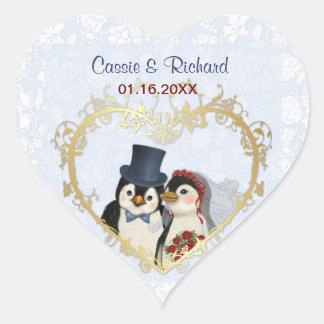 Pinguin-Hochzeits-Herz - fertigen Sie besonders an Herz-Aufkleber