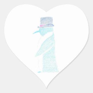 Pinguin in einem Zylinder Herz-Aufkleber