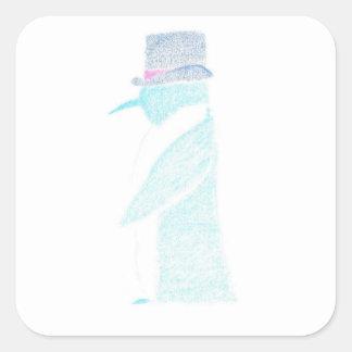 Pinguin in einem Zylinder Quadratischer Aufkleber