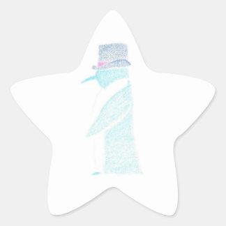 Pinguin in einem Zylinder Stern-Aufkleber