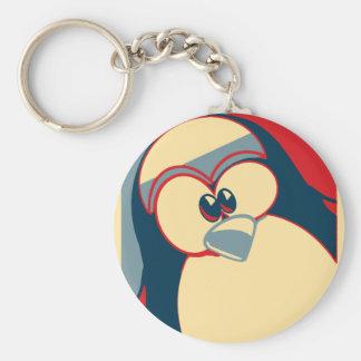 Pinguin Linuxs Tux Obama-Plakat Schlüsselanhänger