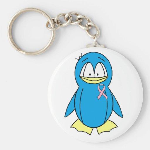 Pinguin mit Brustkrebs-Bewusstseins-Rosa-Band Schlüsselbänder