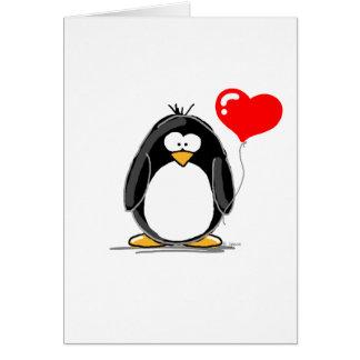 Pinguin mit einem Herzballon Karte