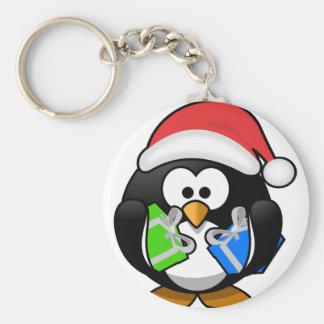 Pinguin mit Geschenken Schlüsselanhänger