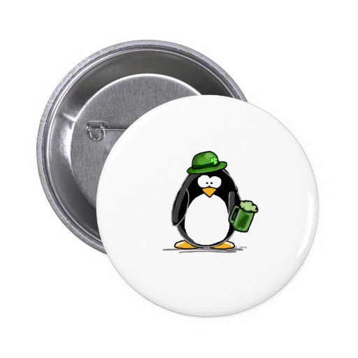 Pinguin mit grünem Bier Anstecknadelbutton