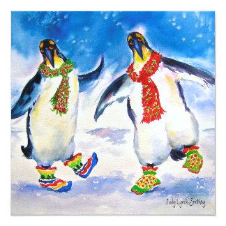 Pinguin-Paar-Weihnachtskarte Karte