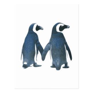 Pinguin-Paare, die Hände halten Postkarte
