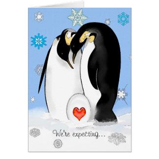 Pinguin Parents Babyparty-Einladung Karte