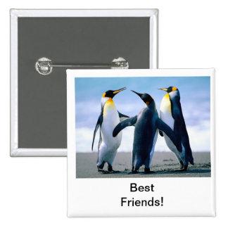 Pinguin Quadratischer Button 5,1 Cm