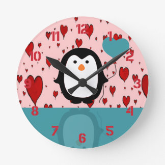 Pinguin Runde Wanduhr