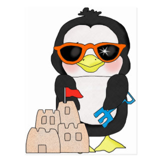 Pinguin Sandcastle Postkarte
