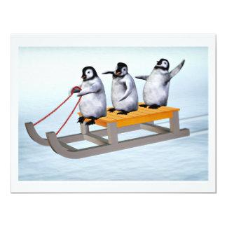 Pinguin-Schlitten 10,8 X 14 Cm Einladungskarte