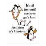 Pinguin-Ski-Abenteuer Postkarte