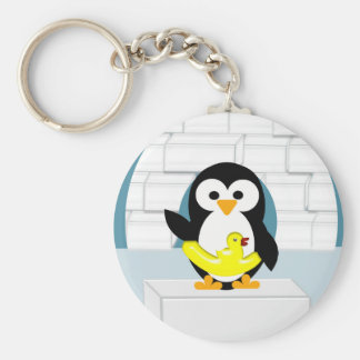 Pinguin Standard Runder Schlüsselanhänger