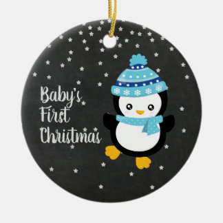 Pinguin-Tafel des Babys erste Weihnachts Keramik Ornament