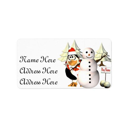 Pinguin und die Schneemann Adressen-Etiketten Adressaufkleber