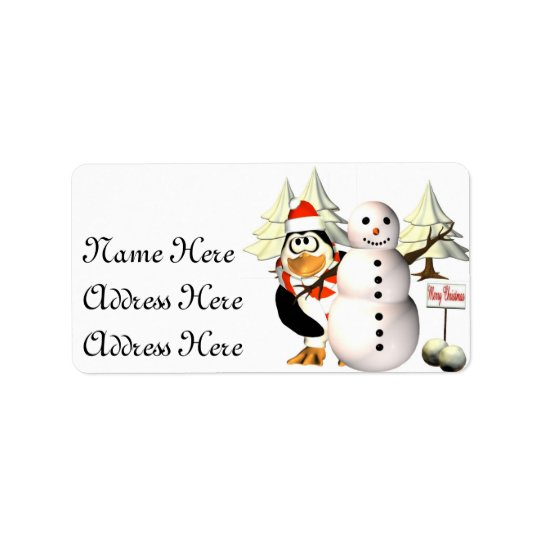 Pinguin und die Schneemann Adressen-Etiketten Adressetikett