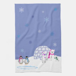 Pinguin-und Eisbär-Tageszeit-Tuch Küchentuch