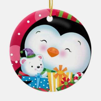Pinguin und Geschenk-Verzierung Keramik Ornament