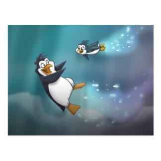 Pinguin und Kind Postkarte