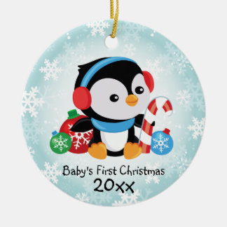Pinguin-Verzierung des Babys erste Weihnachts Rundes Keramik Ornament
