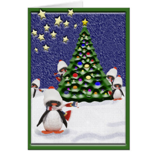 Pinguin-Weihnachtsparadies Karte