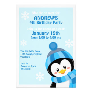 Pinguin-Winter-Geburtstags-Einladung