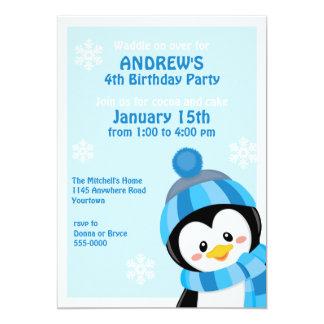 Pinguin-Winter-Geburtstags-Einladung 12,7 X 17,8 Cm Einladungskarte