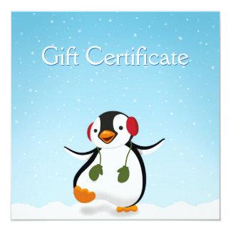 Pinguin-Winter-Illustration - Geschenkgutschein Karte