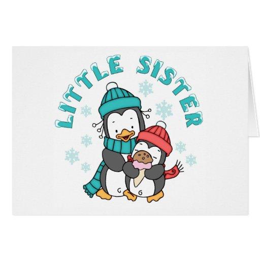 Pinguin-Winter-kleine Schwester Grußkarte
