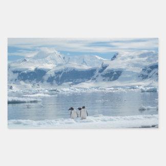 Pinguine auf einem Eisberg Rechteckiger Aufkleber