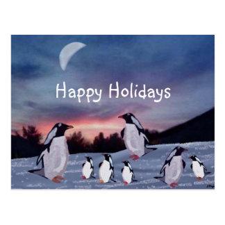 Pinguine auf Eis-Postkarten Postkarte