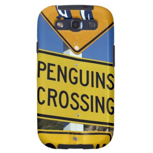 Pinguine, die gelbes Verkehrsschild kreuzen Schutzhülle Fürs Samsung Galaxy S3
