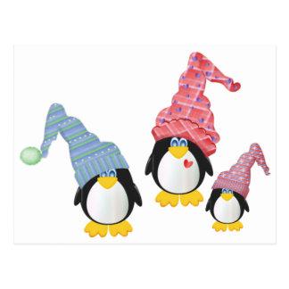 Pinguine mit Hüten Postkarte