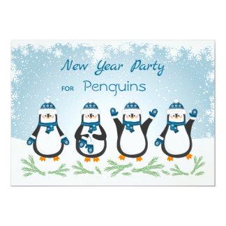Pinguine, Schneeflocken neues Jahr Karte
