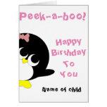 Pinguingeburtstagskarte für junges Mädchen