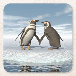 Pinguinpaare Rechteckiger Pappuntersetzer