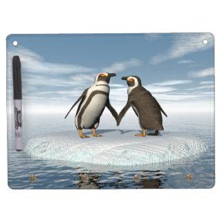 Pinguinpaare Trockenlöschtafel Mit Schlüsselanhängern