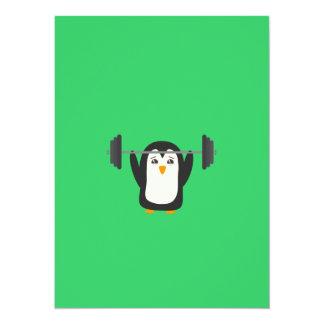 PinguinWeightlifting 14 X 19,5 Cm Einladungskarte