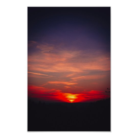 pinhole camera bavarian winter sunset poster