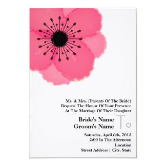 Pink-Anemonen-Hochzeit: Von den Eltern der Braut 12,7 X 17,8 Cm Einladungskarte