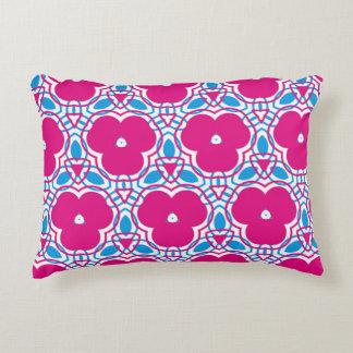 Pink, blue floral pattern deko kissen