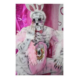 Pink bunny - bad bunny poster druck print