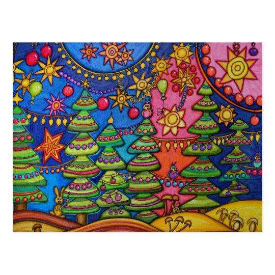 Pink christmas postkarte