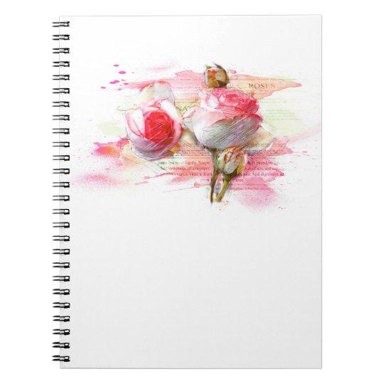Pink colored roses, Watercolor, splash Spiral Notizblock