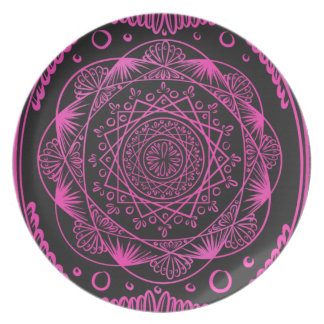 Pink, das Zenmuster und heilen, chakra weckend Teller