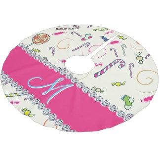 Pink-Diamant-Zuckerstange-Monogramm Polyester Weihnachtsbaumdecke