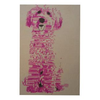 Pink Dog Holzleinwand