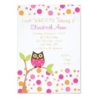 Pink-Eule 12,7 X 17,8 Cm Einladungskarte